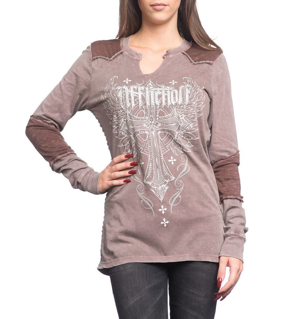Womens Long Sleeve Tees - Cashmere