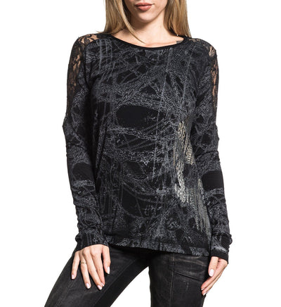 Chain Reaction - Womens Long Sleeve Tees - Affliction Clothing