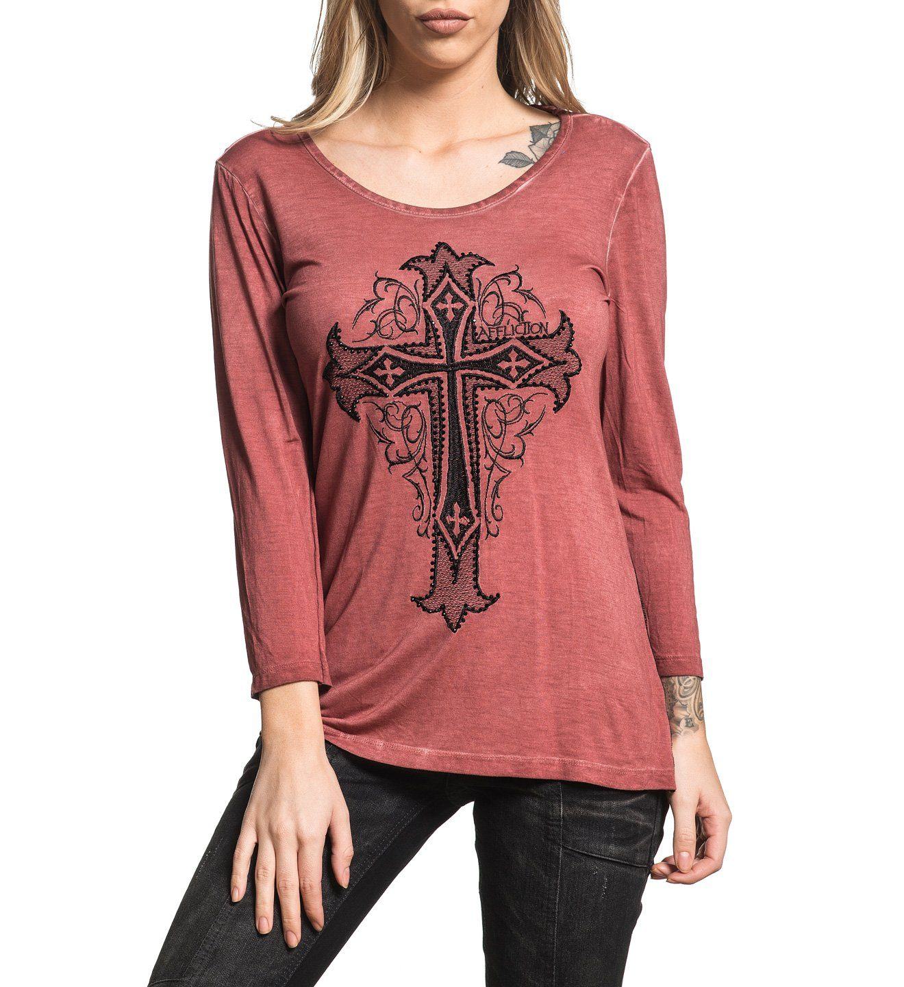 Isabella 3/4 Scoop - Womens Long Sleeve Tees - Affliction Clothing
