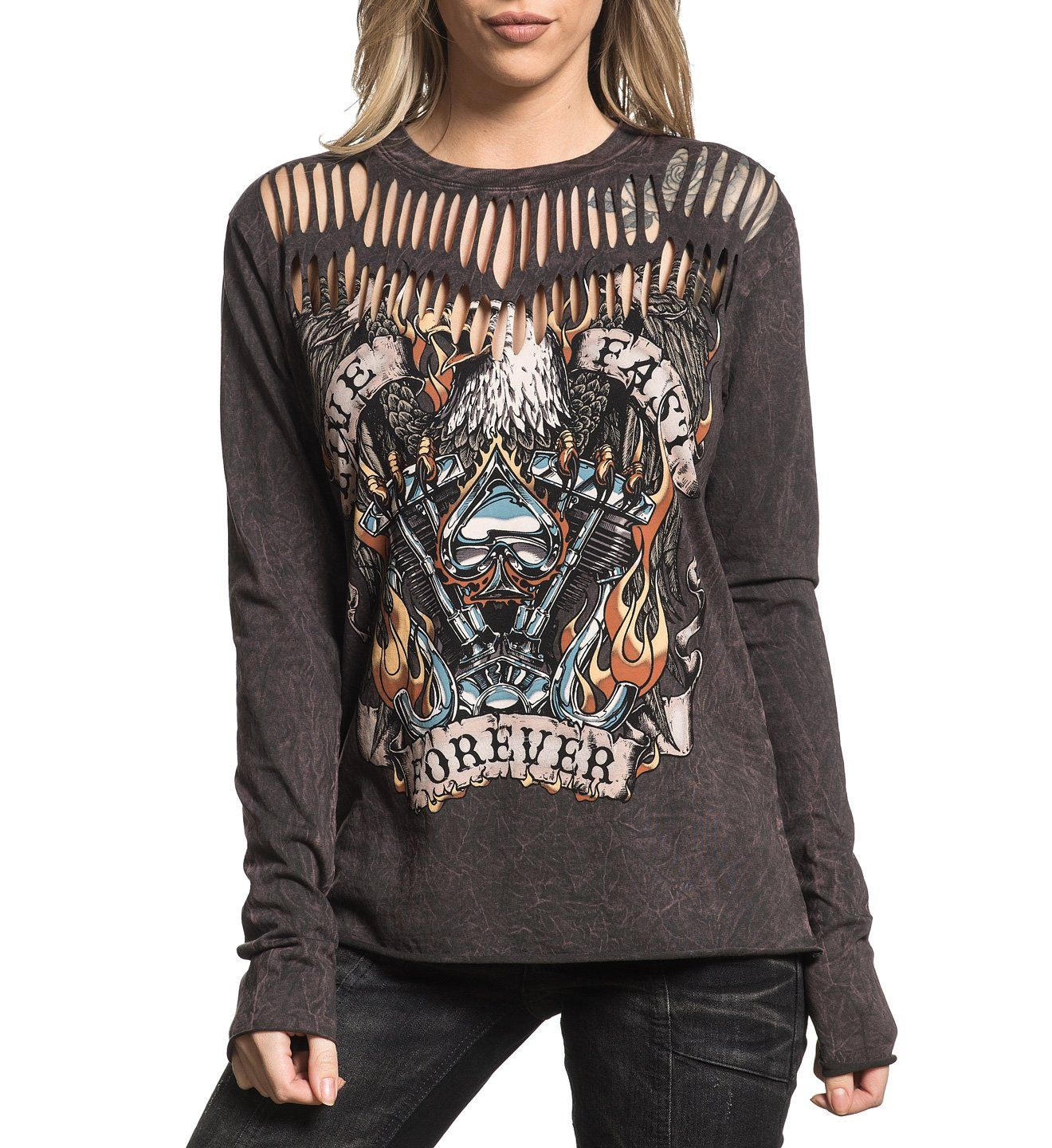 04c7b4a6 Live Fast Forever - Womens Long Sleeve Tees - Affliction Clothing