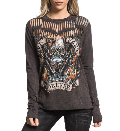 Live Fast Forever - Womens Long Sleeve Tees - Affliction Clothing