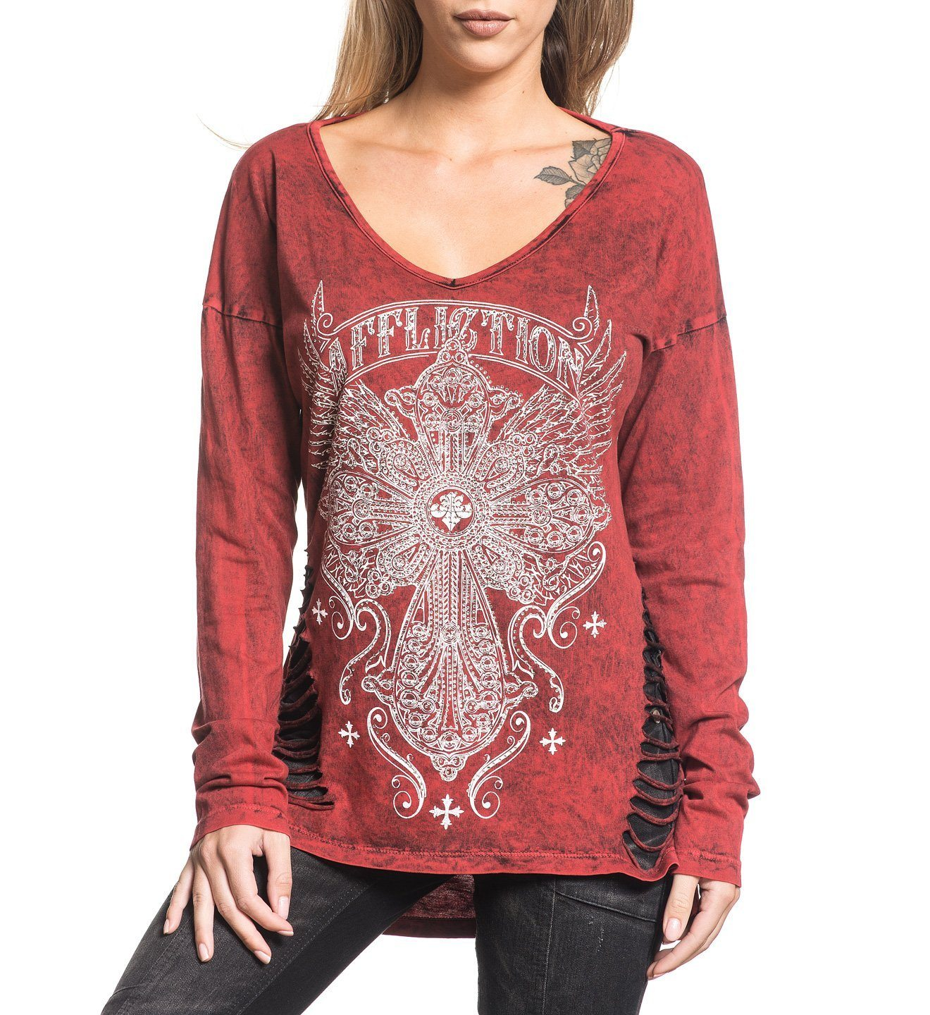 dd31f84bedb7 Long Sleeve Tee with Side Slits - Affliction Clothing
