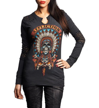 Wild Buffalo - Womens Long Sleeve Tees - Affliction Clothing