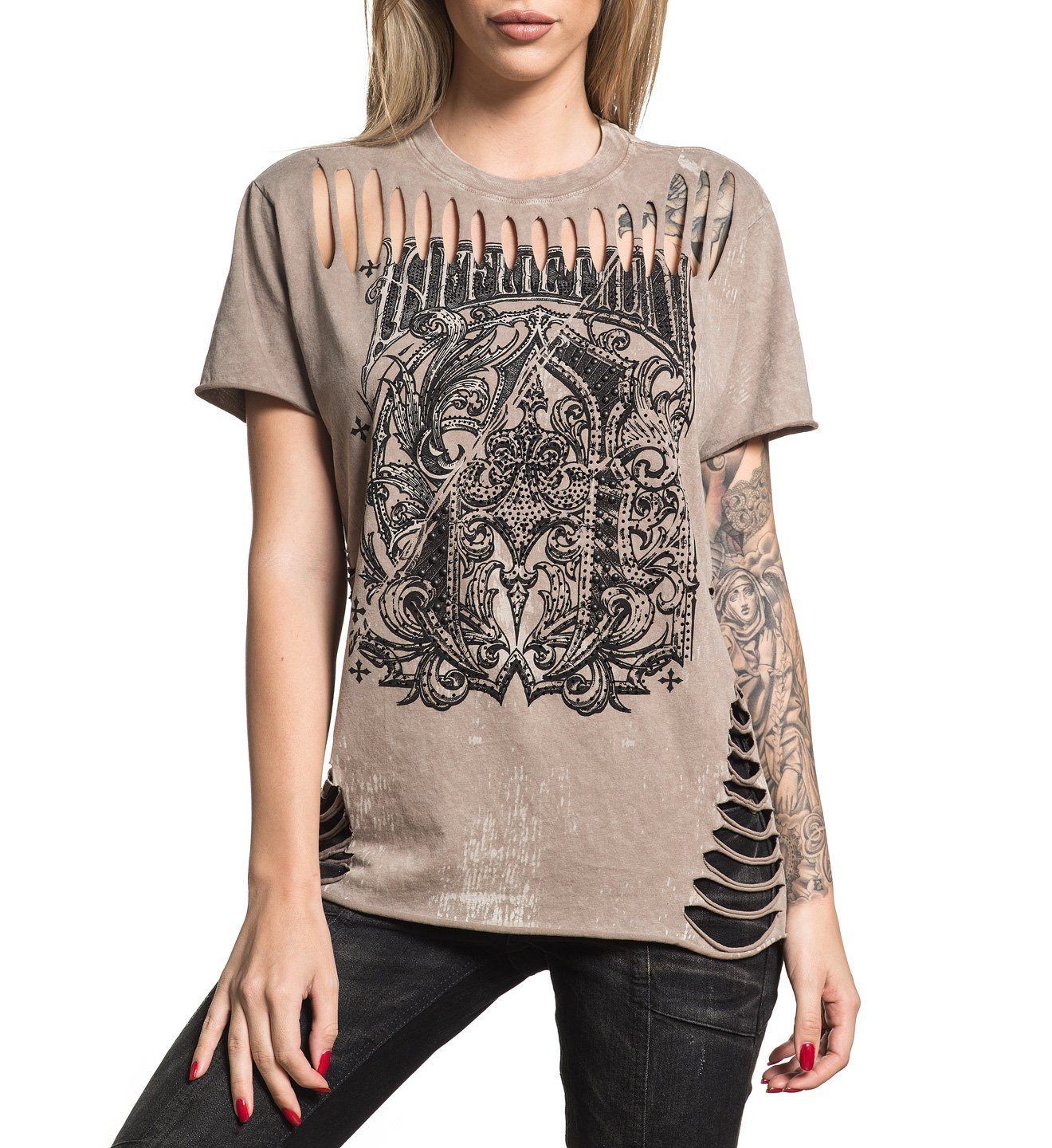 A Frame Split - Womens Short Sleeve Tees - Affliction Clothing