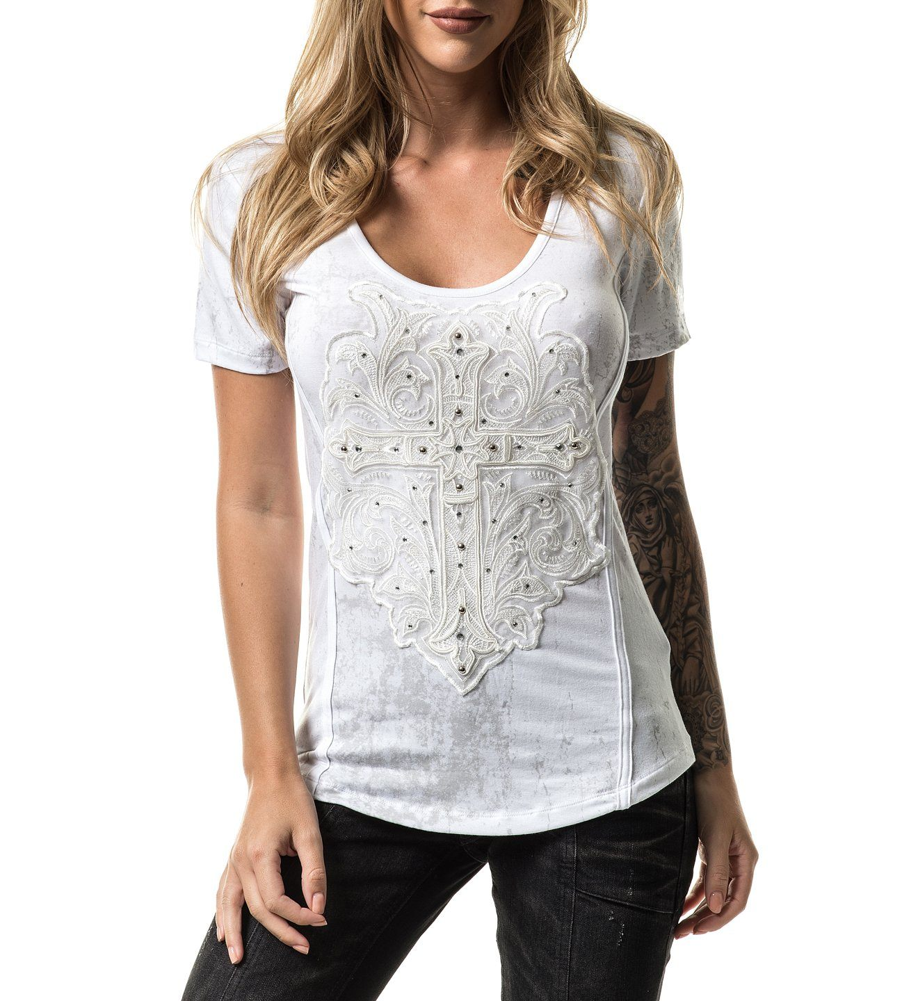 Anastasia Cross - Womens Short Sleeve Tees - Affliction Clothing