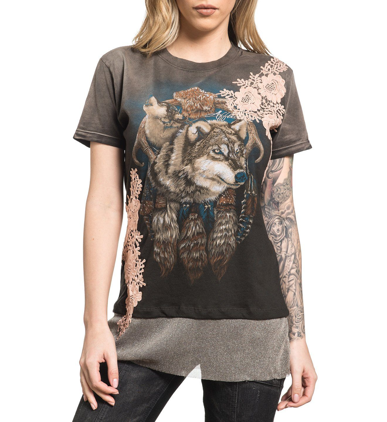 Hounds Tooth - Womens Short Sleeve Tees - Affliction Clothing