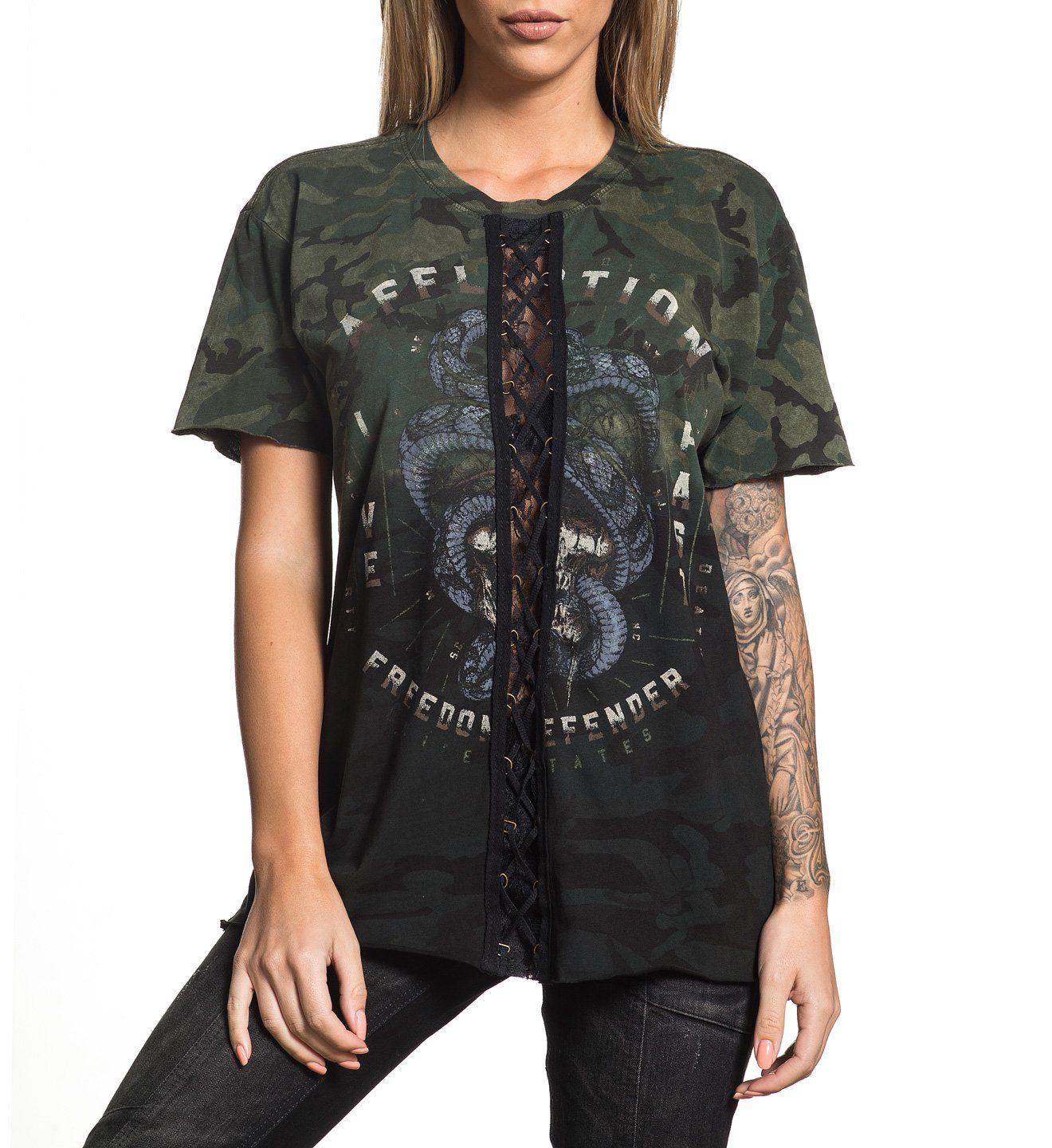 333513a5b2eacf Freedom Defender Women s Short Sleeve Crew Neck Tee - Affliction Clothing