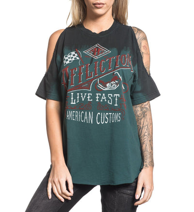 Live Fast Vintage - Womens Short Sleeve Tees - Affliction Clothing