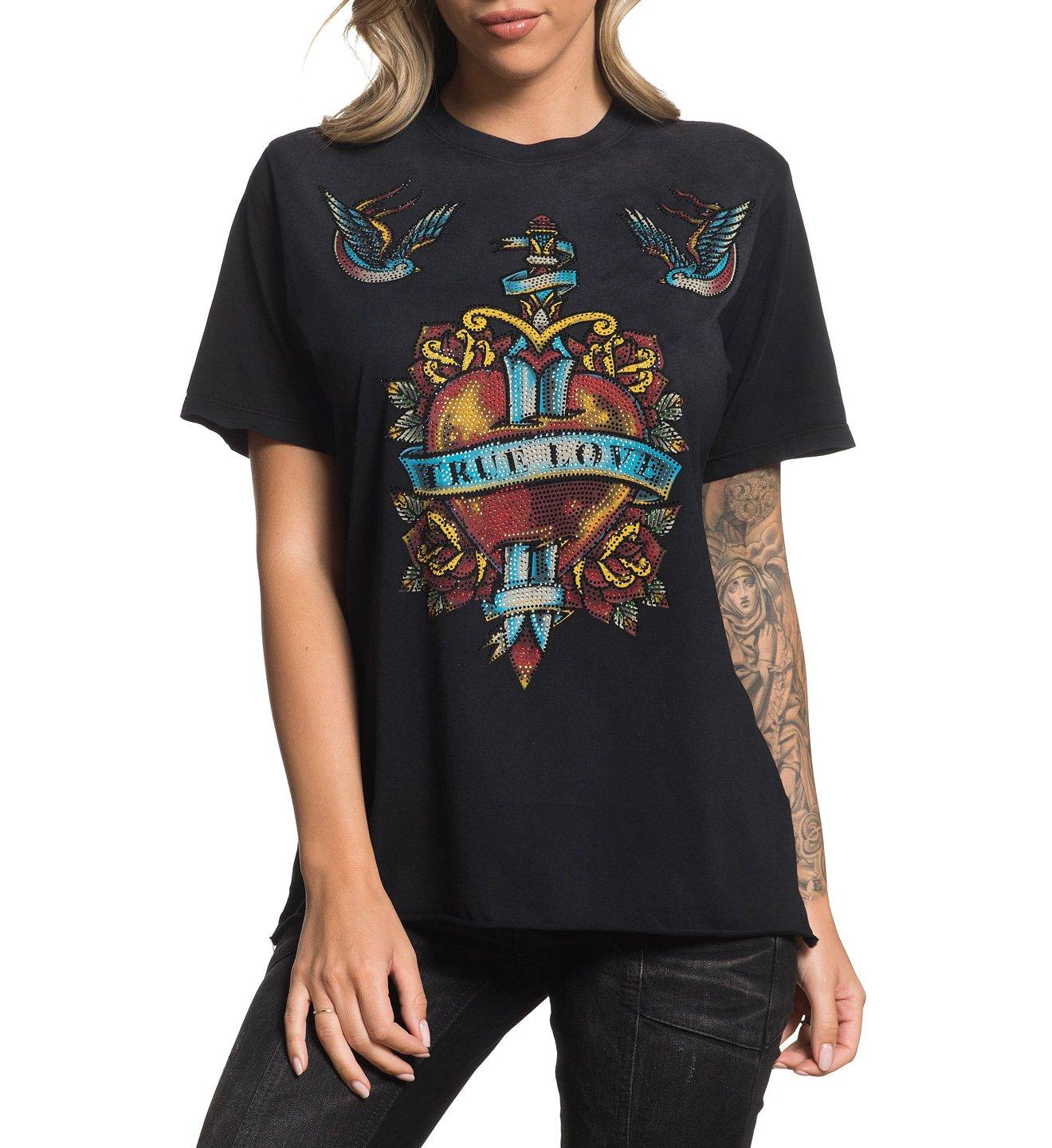 True - Womens Short Sleeve Tees - Affliction Clothing