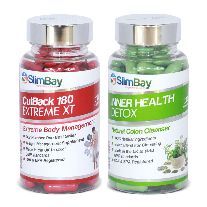 SlimBay CutBack 180mg and Inner Health Detox Combo Bundle - 2 Month Supply