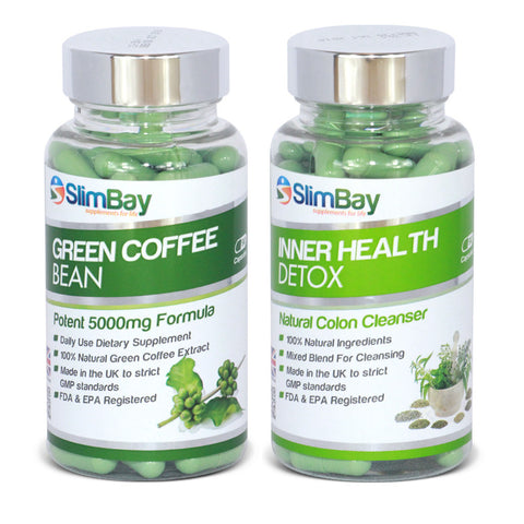 SlimBay Green Coffee Bean Extract and Inner Health Detox Combo Bundle - Go Green Today!