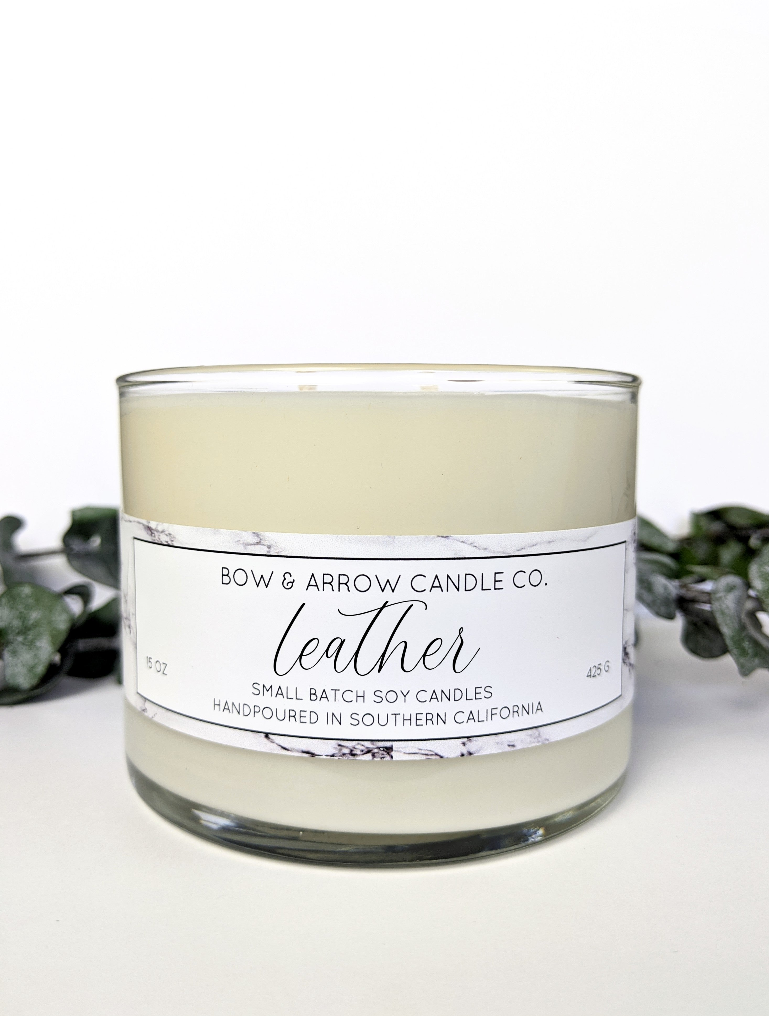 Leather Scented 15 oz Soy Candle