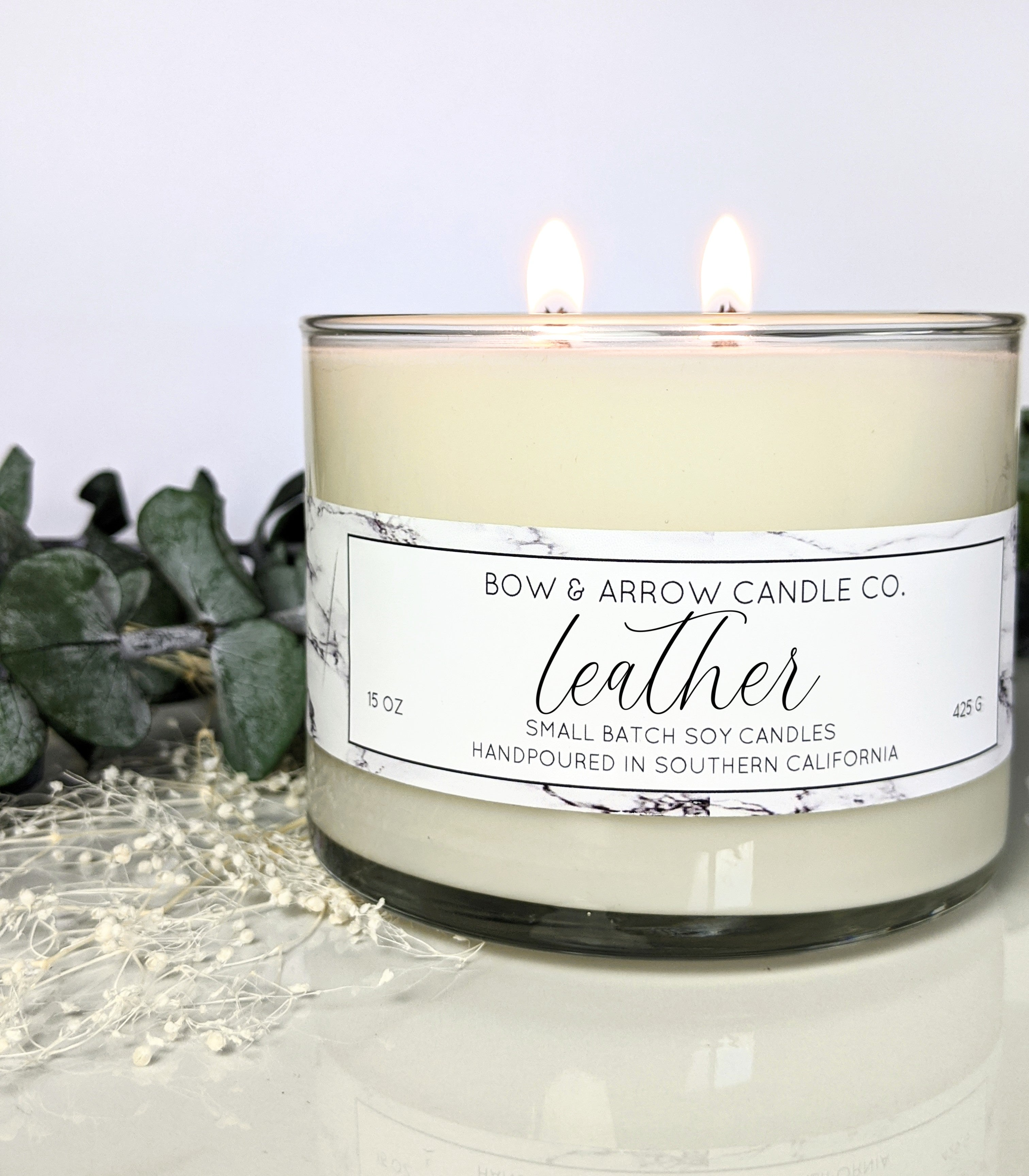 leather 15 oz soy candle