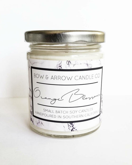 orange blossom scented floral soy candle