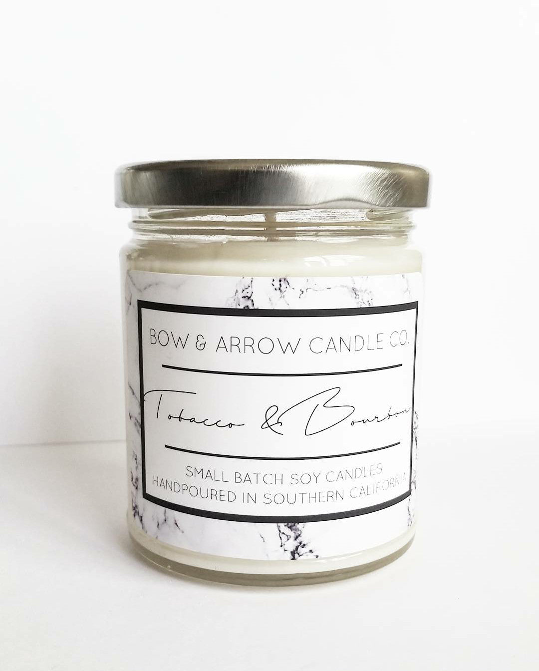 tobacco & bourbon scented vegan soy candle