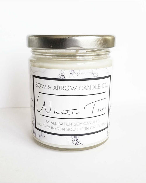 white tea scented soy candle
