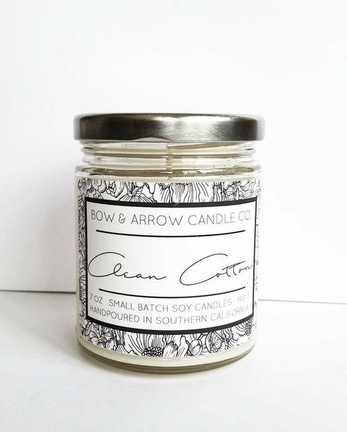 clean cotton scented soy all natural handmade candle
