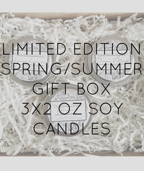 Pick Three 2 oz Spring & Summer Soy Candle Tins Gift Box