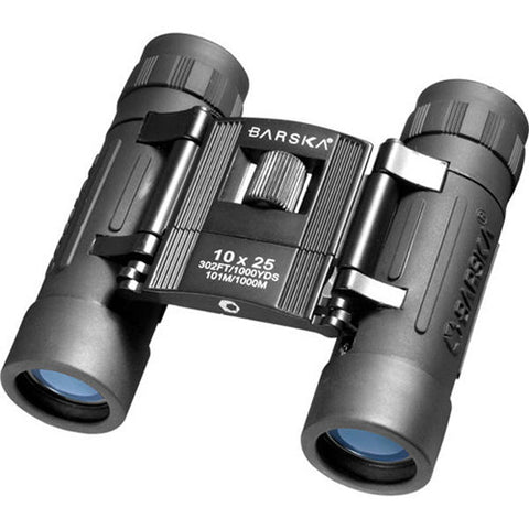 Barska Optics Lucid View Compact Binocular 10x25mm, Blue Lens, Black