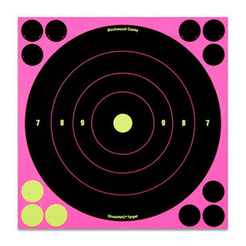"Birchwood Casey ShootNC Pink 8"" Bull's-eye Target- 6 Pack"