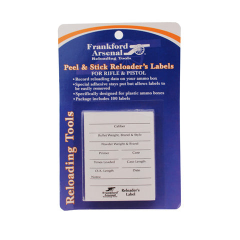 Frankford Arsenal Pistol and Rifle Reloader's Labels 100 Pack