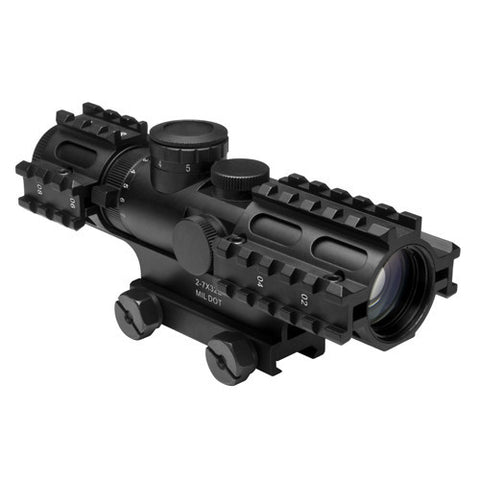NcStar Tactical 3-Rail Sighting System 2-7x32/Blue Illuminated Mil-Dot/Green/Weaver Mount