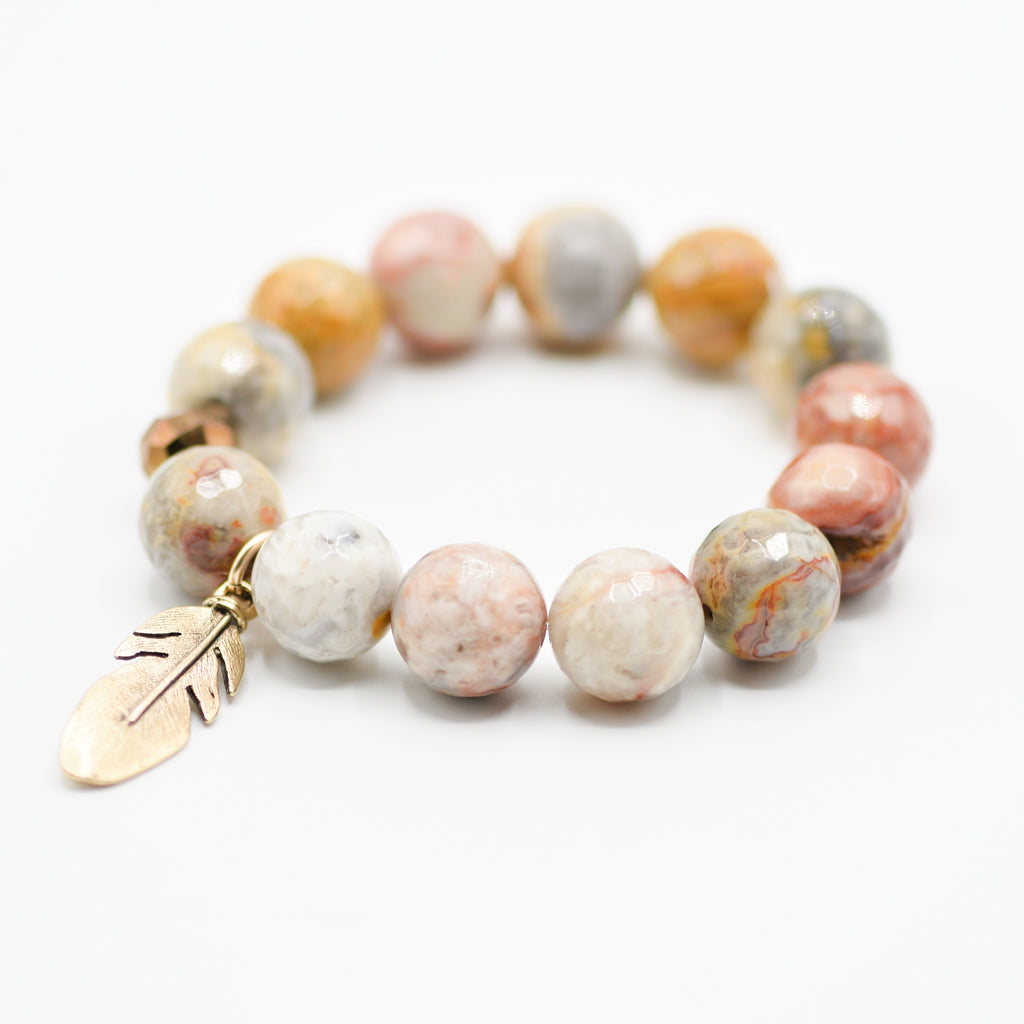 CRAZY LACE AGATE AND FEATHER BRACELET