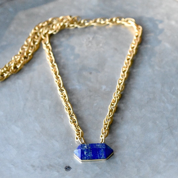Lapis and Gold chain Necklace, Lapis Pendant