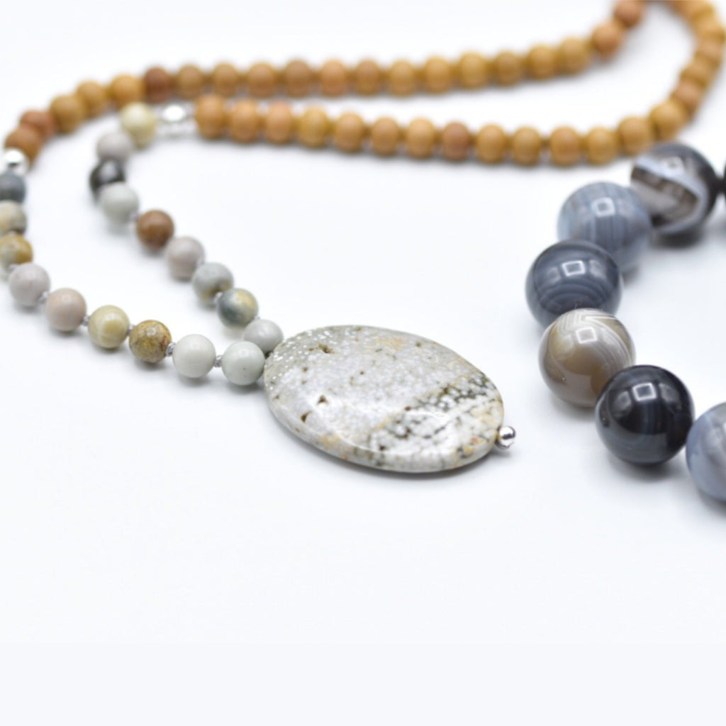 GREY JASPER MALA NECKLACE