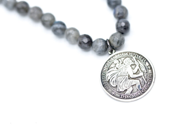 St. Christopher Medal and labradorite necklace