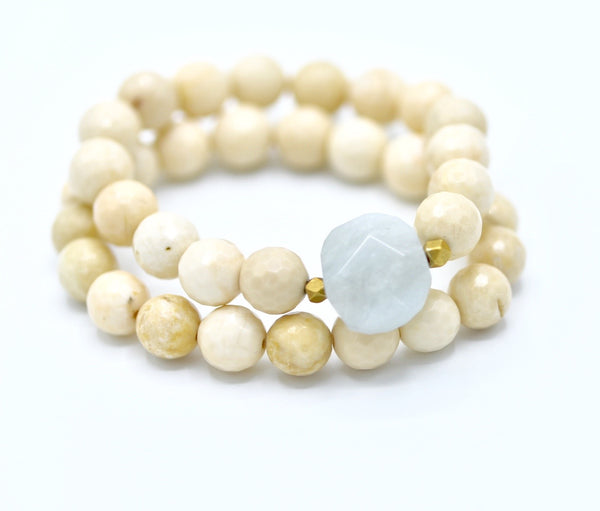 Cream faceted fossil stone with agate focal bead bracelet