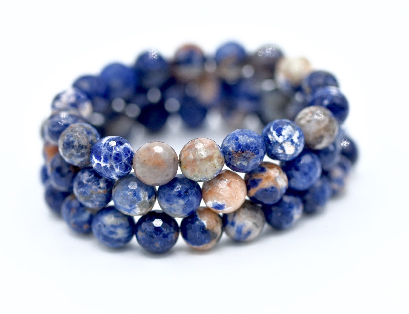 Sodalite gemstone stack of bracelets, hand made.