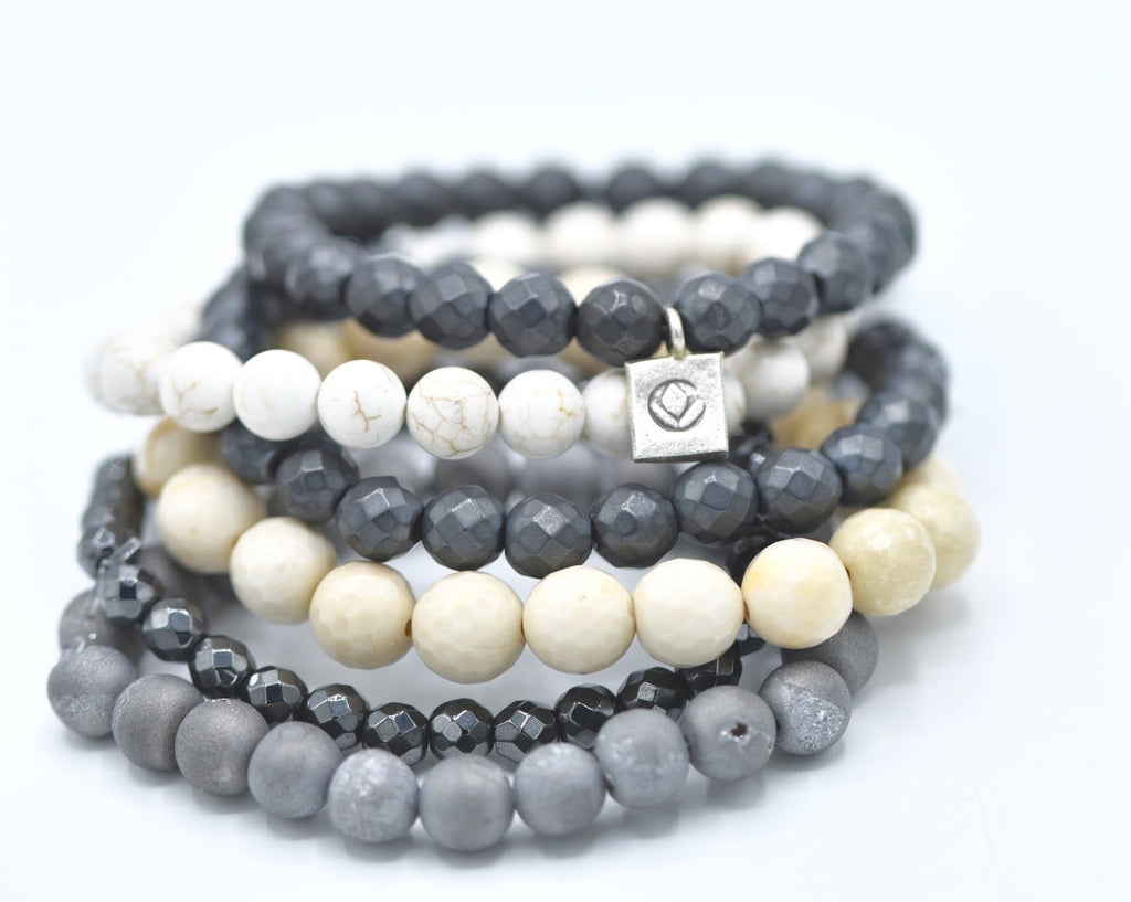 Beaded Bracelet Stack, hematite, howlite, and druzy gemstones.