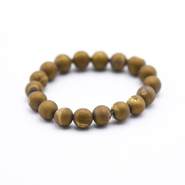 Gold Druzy Hand made Beaded Bracelet