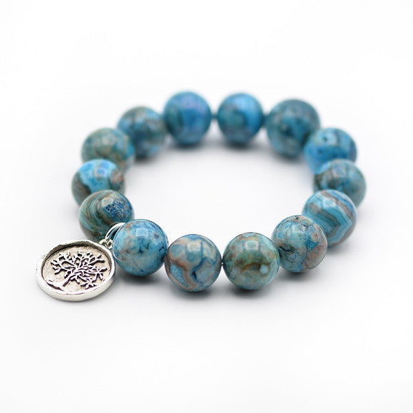 Agate beaded bracelet, silver tree of life charm, charm bracelet, 14mm blue agate beads