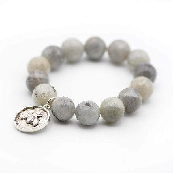 Labradorite gemstone bracelet with silver bee charm.