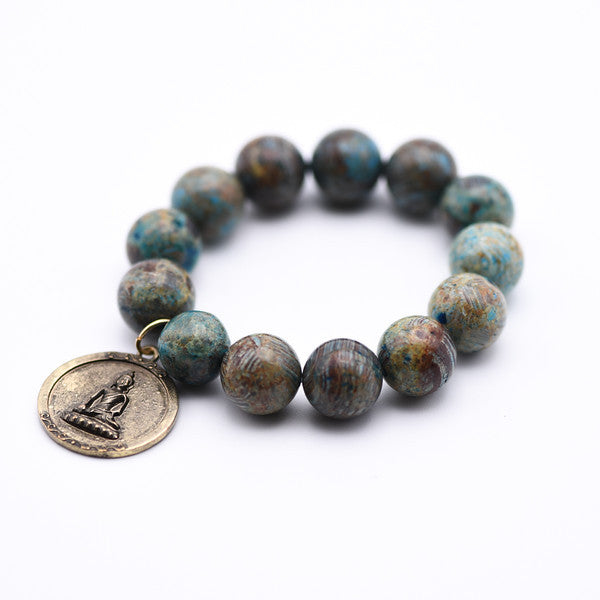 Aqua Stripe Jasper gemstone beaded bracelet with antique gold Buddha charm