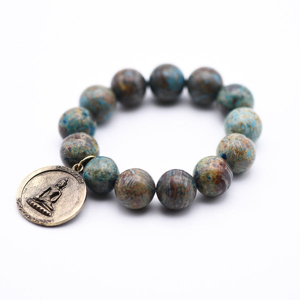 Aqua Stripe Jasper gemstone beaded bracelet with antique gold Buddha charm, yoga bracelet