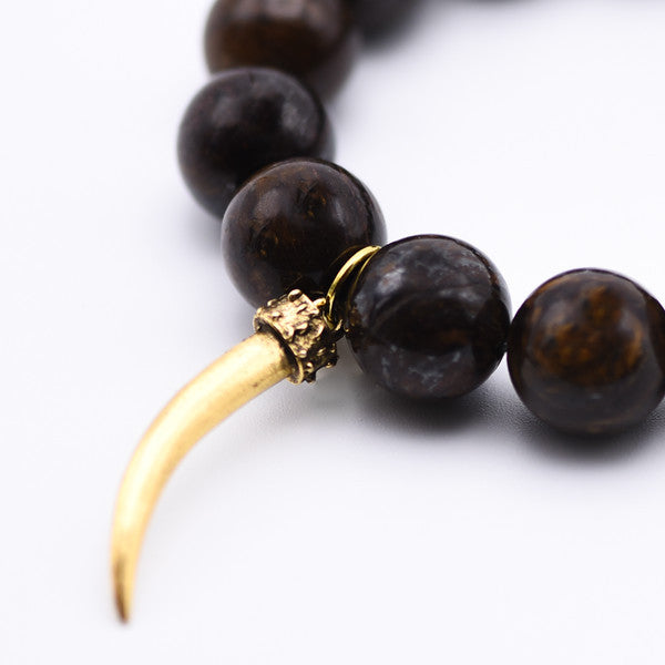 Bronzite Bracelet with Gold Horn Charm