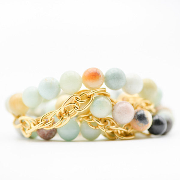Amazonite Gemstone Bracelet paired with gold links