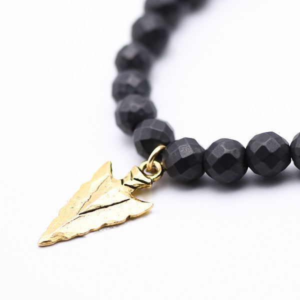 Hematite with Golden Hammered Arrow Bracelet