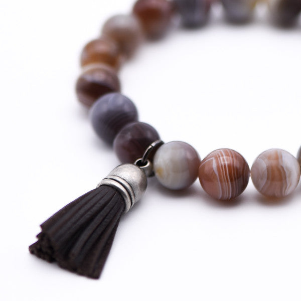 Leather Tassel Bracelet with Botswana Agate