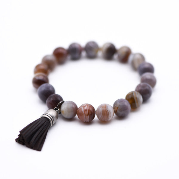 Gemstone Beaded Bracelet with Leather Tassel