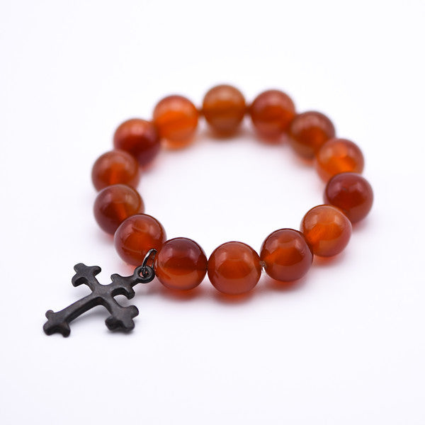 Cross Charm Bracelet with Carnelian