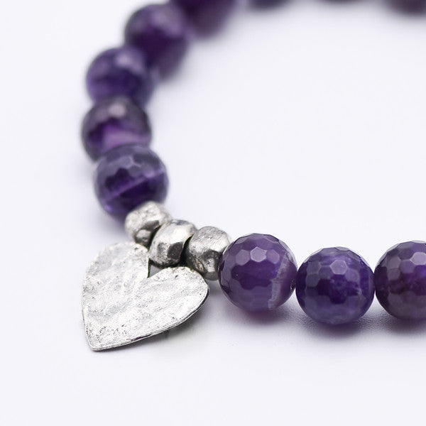 Purple Amethyst with Silver Heart Bracelet
