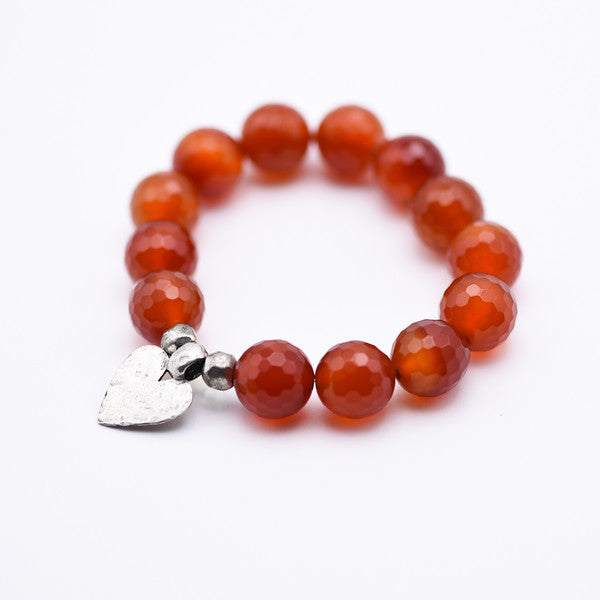 Faceted Carnelian Bracelet with Silver Heart