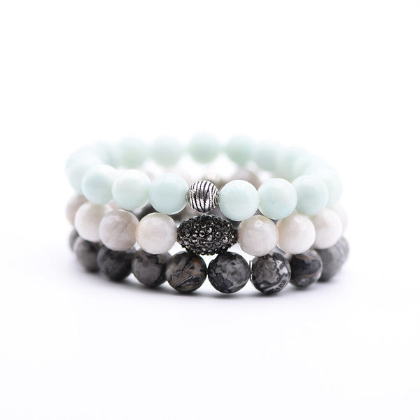 Bracelet Stack with Amazonite, Lace Agate and Jasper