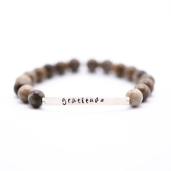 Silver Leaf Jasper Bracelet with Gratitude Bar