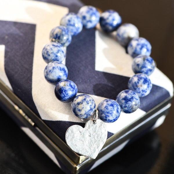 Blue Spotstone Bracelet with Silver Heart Charm