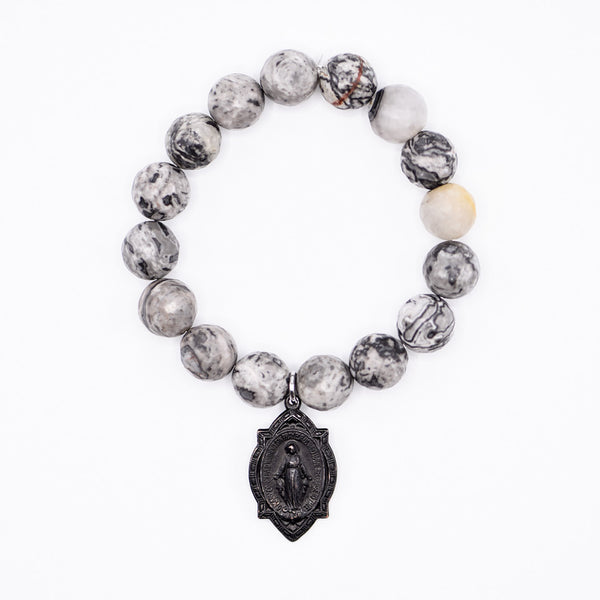 Blessed Mother Medal on Picasso Jasper Bracelet